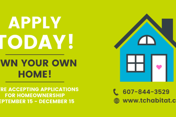 New Application Period for Ithaca Area Homes Sept. 15 – Dec. 15 2021